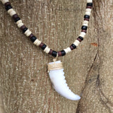 "Rasta Coconut Beads Necklace Choker Tiger Tooth Marley Reggae 18""/46 cm 3-4ml"