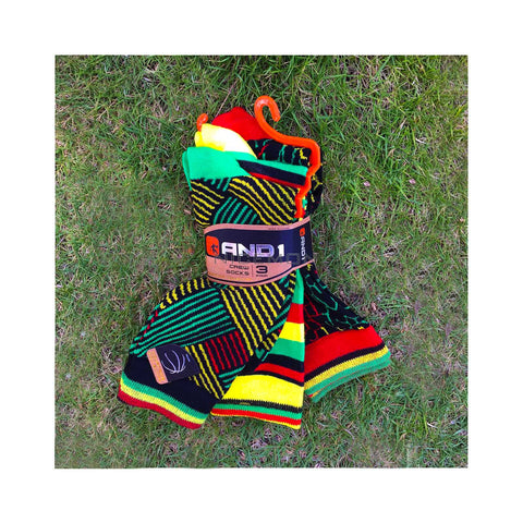 3 Pair Of Rasta Stripe Men's Socks Rastafari Cushion Crew Colors And1 SZ 10-13