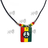 Black Cord Peace Sign Style Rasta One Love Jamaica Reggae Irie Roots 18""