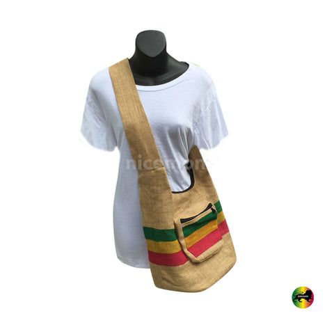 Handbag Jute Rasta Stripe Burlap Rastafari Hippie Hipster Messenger Shoulder Bag