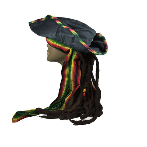 Pirate Hat Cap Rasta Dreadlocks Dread Wig Rastafari Costume Jamaica Reggae 1LOV