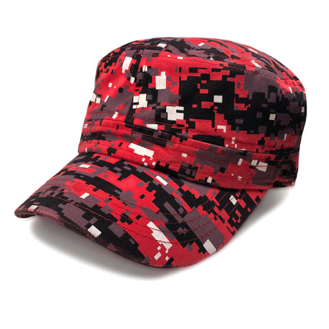 Red Digital Camouflage 100% Cotton Army Hat Cadet Cap Hat Army Military 1sz Ft