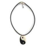Yin and Yang Black Rubber Cord Ying Yang Pendant Peace Love Hippie Rasta Unity