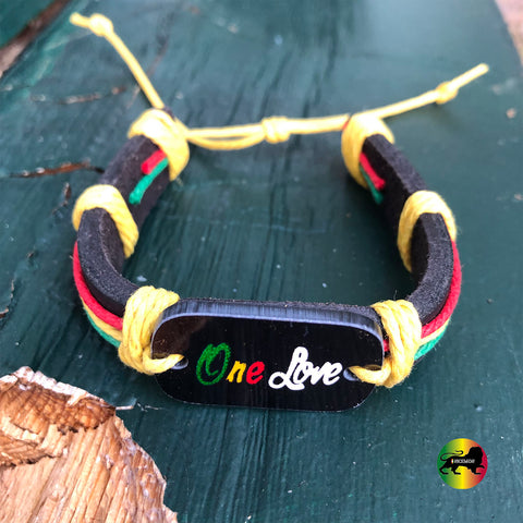 One Love Rasta Faux Leather Wrist Cuff Wrist Bracelet Hippie Bob Reggae IRIE