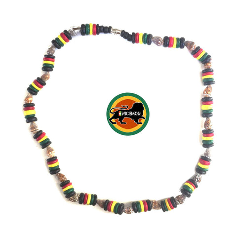 "Rasta Coconut Necklace Choker Coco Beads Tiger Nasa Reggae 18"" or 46 cm 8 ml"