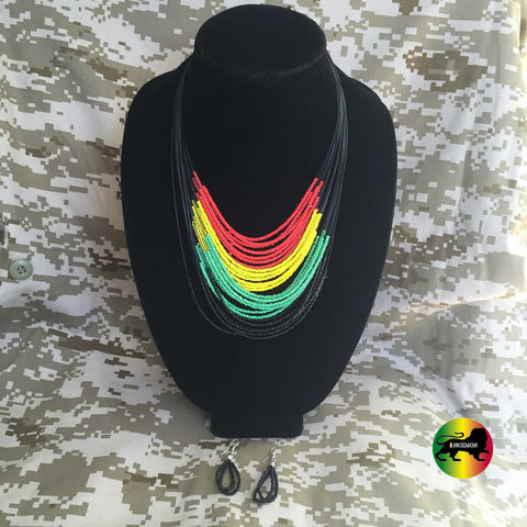Necklace Earing Set Africa Rasta Necklace Roots Beaded Neckalace Earing Set 1SZ