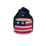 USA American Flag Backpack Tote Bag Burlap Boho Hippie Gypsy PURSE