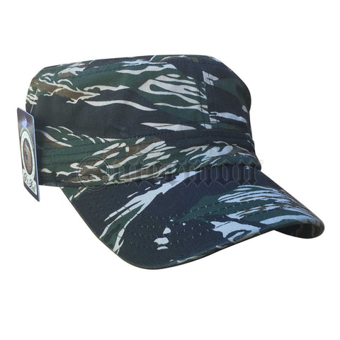 100% Cotton Army Hat Green Camouflage Cadet Jungle Cap Hat Army Military 1sz Fit