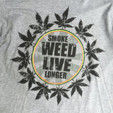 Smoke Weed Live Longer Cooyah Rasta T Shirt Rastafari 100% Cotton Jamaica CY