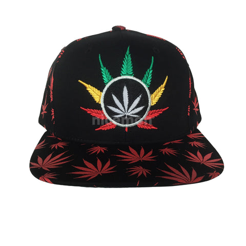 Weed Leaf Snapback Cap Hat Flat Visor Snap Back Hip Hop Hiphop Cannabis Pot Leaf IRIE