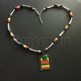 Jamaica Haiti Trinidad Lion Of Judah Africa Selassie Rasta Dog Tag Necklace 20""