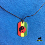 Dog Tag Rasta Ying Yang Necklace Pendent Jah Love Rasta Jamaica Reggae 1 SZ FIT