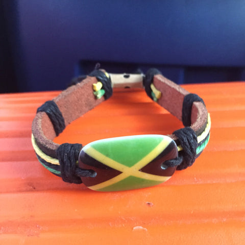 Jamaica Bracelet Leather Wrist Flag Emblem Hippie Bob Roots Reggae Rasta IRIE
