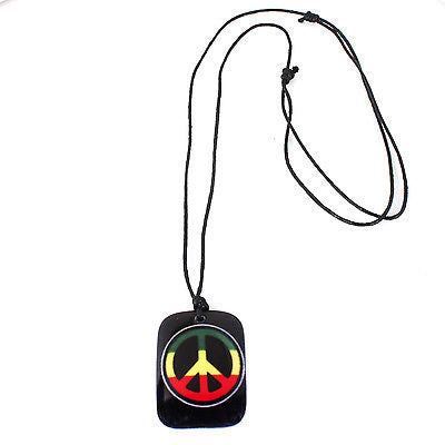 Black Cord Necklace Reggae Vibes Dog Tag Peace Rasta Peace Sign Pendant 1SZ FIt