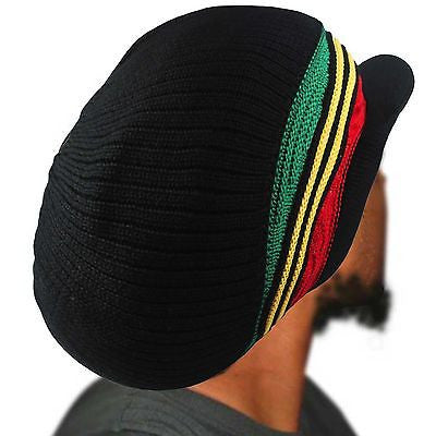 Rasta Rastafari Dreadlocks Peak Crown Hat Reggae Jamaica Jah One Love S to M Fit