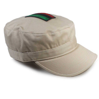 Africa Tan Army Hat Marcus Garvey Rastafari Reggae Cap Hat Military Afro L/XL