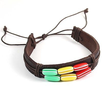 Rasta Brown Leather Bracelet Wrist Band Hippie Hawaii Dub Ras Reggae Marley RGY