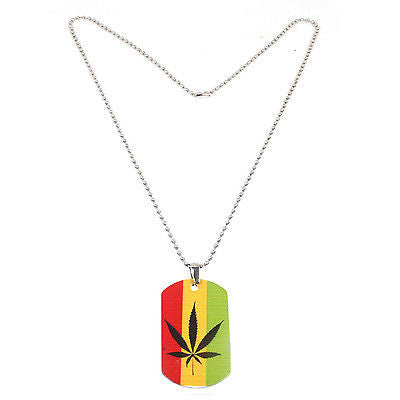 Weed Of Wisdom Irie Rasta Rastafari Cannabis Leaf Dog Tag Necklace Marley 24""