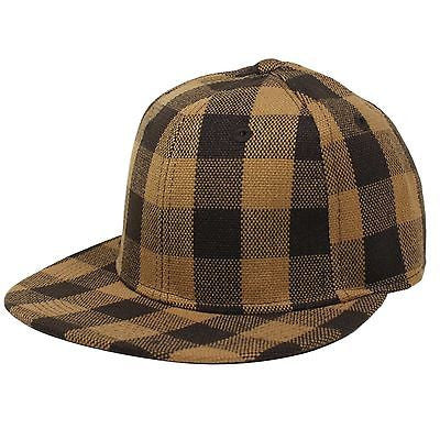 Hip Hop Hiphop Urban Wear Cap Hat Baseball Gangster Brown Checker Cap FITTED