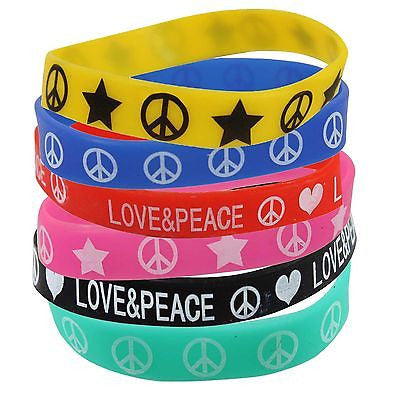Friendship Wrist Bracelet Hippie Peace Sign Love Surfer Style Fexible 1 Size Fit