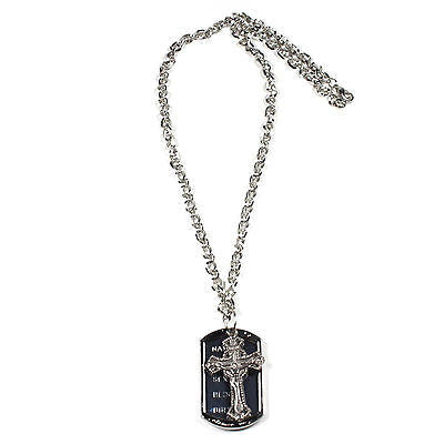 Chrome Choker Dog Tag Necklace Jesus Christ Messiah Chrome Chain Necklace 18""