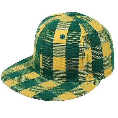 Hip Hop Hiphop Urban Wear Cap Hat Baseball Gangster Green Yellow Checker FITTED