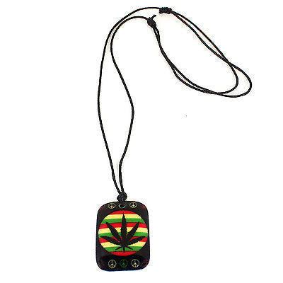 Black Cord Necklace Reggae Vibes Dog Tag Canna Rasta Weed Leaf Pendant 1SZ FIt