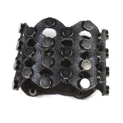 "Leather Rivets Bracelet Unisex Black Leather Leather Rivets Bracelet 2.25"" W"