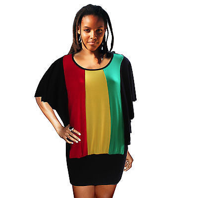 Rasta Empress Dress Top Kimono Rasta Colors Jamaica Bahamas Hawaii Reggae RGY