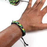 Jamaica Faux Leather Friendship Bracelet Cuff Island in the Sun Rasta One Love IRIE