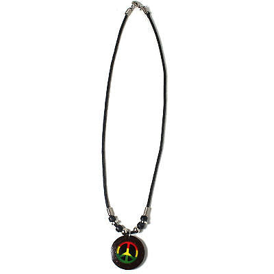 Peace Necklace Rasta Color Jah Love Sufer Peace Marley Reggae Hawaii Jamaica 18""