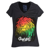 Rasta Lion Ladies Roots T Shirt Rasta Reggae Rockers Irie 100% Cotton Cooyah CY