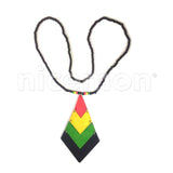 Wood Pendant Flex Necklace Roots Reggae Rasta Hippie Africa Selassie Jamaica 24""
