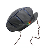 Gray Blue Pleated Rasta Negus Hat Cap Africa Rastafari Reggae Jamaica Caps 61 cm XL