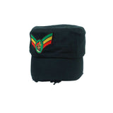 Selassie Vintage Military Army Cadet Cap Hat Rasta Rastafari 100% Cotton ARMY