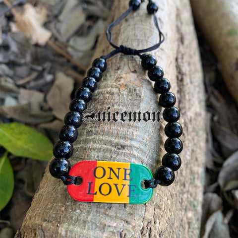 One Love Wrist Tag Emblem Wrist Bracelet Sweet Jamaica Bob Reggae Large Bead 5MM