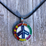 Stainless Peace Sign Pendant Leather Cord Necklace Concious Goods Peace 24""