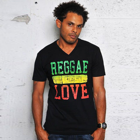 100% Cotton Reggae Love Irie Rasta T Shirt Dancehall Jamaica V Neck Cooyah CY XL