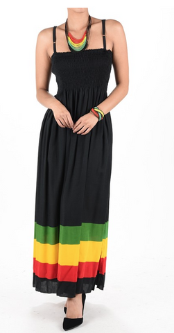 Jamaica Rasta Roots Ladies Empress Long Dress Reggae Cool Runnings 1 Size Fit