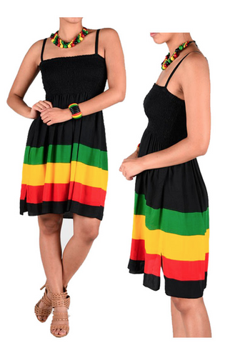 Jamaica Rasta Roots Ladies Empress Short Dress Jah Reggae Cool Runnings 1 Size Fit