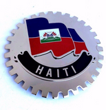 HAITI Auto Grille Emblem  Chrome Finish w/Haitian Flag Mounts