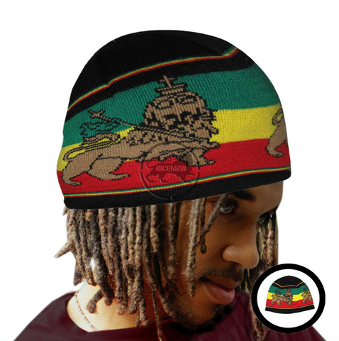 The Conquering Lion Of Judah Rasta Rastafari Selassie Beanie Tam Cap ONE SIZE