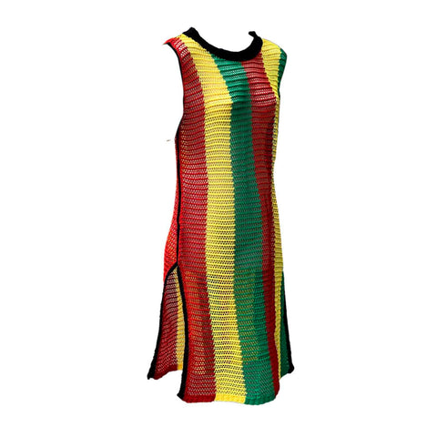 Fishnet Mesh Dress Ladies Empress Rasta Stripes Reggae ONE SIZE FIT