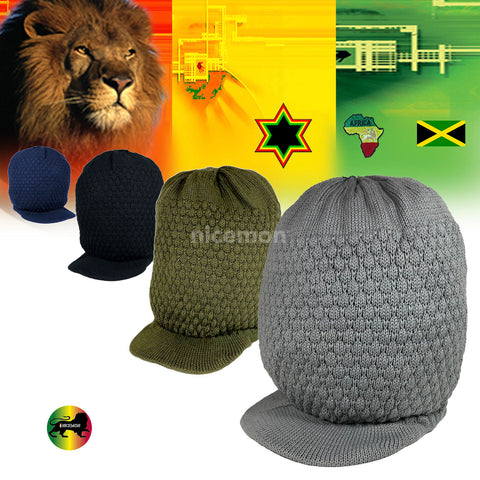 Natty Dreadlocks Rasta Hat Cap Peak Jamaica Caps Selassie Africa Marley [ XL ]