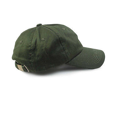 Army Green Cap Cadet Military Style Baseball Hat Brass Buckle Adjuster 1sz Fit