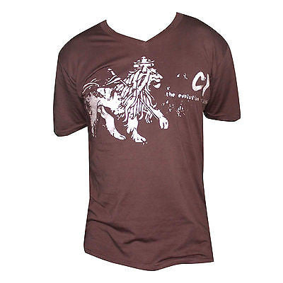 Cooyah Lion Of Judah V-Neck T Shirt Earthtone Brown Rockers Reggae CY