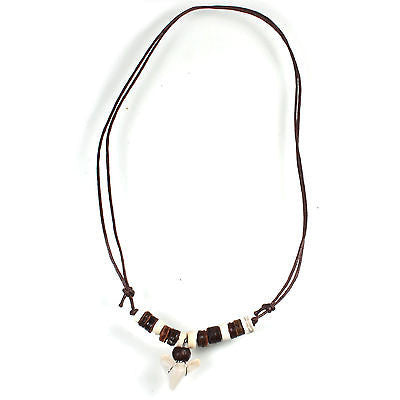 Shark Tooth Ajustable Brown Cord Necklace Pendant Unity Peace Hawaii Bob 18/30""