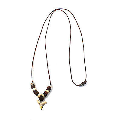 Leather Cord Sufer Necklace Shark Tooth Style Pendant Reggae Rasta Hippie 18""