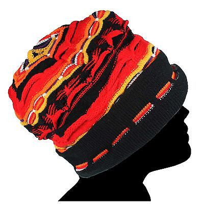 Multi Color Beanie Tam Hat Hippie 100% Acrylic Keep Warm Unisex M/L Fit