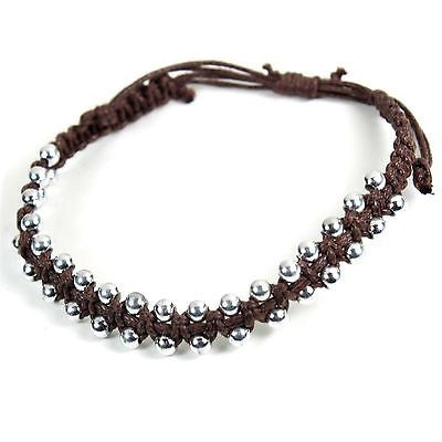 Brown Leather Bracelet Wrist Cuff Band Hippie Hawaii Dub Ras Reggae Marley RGY